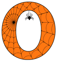 Free printable O - Halloween font. Alphabet clipart, spooky, font, stencil coloring page sheet, template with spider and cob web pattern digital download.