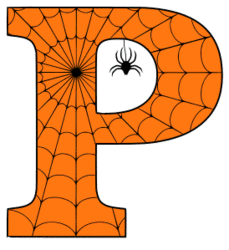 Free printable P - Halloween font. Alphabet clipart, spooky, font, stencil coloring page sheet, template with spider and cob web pattern digital download.