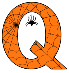 Free printable Q - Halloween font. Alphabet clipart, spooky, font, stencil coloring page sheet, template with spider and cob web pattern digital download.