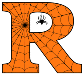 Free printable R - Halloween font. Alphabet clipart, spooky, font, stencil coloring page sheet, template with spider and cob web pattern digital download.