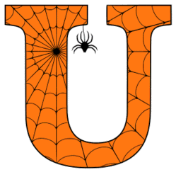 Free printable U - Halloween font. Alphabet clipart, spooky, font, stencil coloring page sheet, template with spider and cob web pattern digital download.