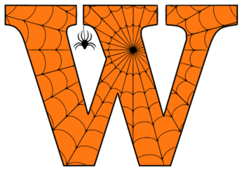 Free printable W - Halloween font. Alphabet clipart, spooky, font, stencil coloring page sheet, template with spider and cob web pattern digital download.