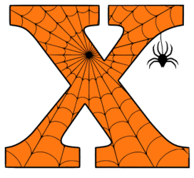 Free printable X - Halloween font. Alphabet clipart, spooky, font, stencil coloring page sheet, template with spider and cob web pattern digital download.