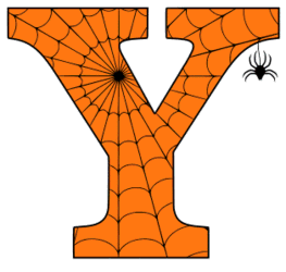 Free printable Y - Halloween font. Alphabet clipart, spooky, font, stencil coloring page sheet, template with spider and cob web pattern digital download.