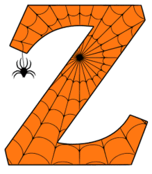 Free printable Z - Halloween font. Alphabet clipart, spooky, font, stencil coloring page sheet, template with spider and cob web pattern digital download.