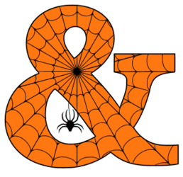 Free printable Halloween ampersand. Alphabet clipart, spooky, font, stencil coloring page sheet, template with spider and cob web pattern digital download.