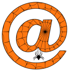 Free printable Halloween at sign. Alphabet clipart, spooky, font, stencil coloring page sheet, template with spider and cob web pattern digital download.