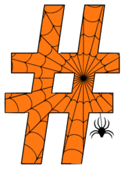 Free printable Halloween pound. Alphabet clipart, spooky, font, stencil coloring page sheet, template with spider and cob web pattern digital download.