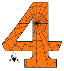 Free printable 4 - Spooky number. Alphabet clipart, spooky, font, stencil coloring page sheet, template with spider and cob web pattern digital download.
