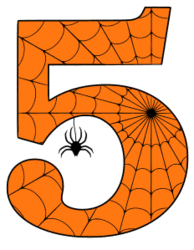 Free printable 5 - Halloween number. Alphabet clipart, spooky, font, stencil coloring page sheet, template with spider and cob web pattern digital download.