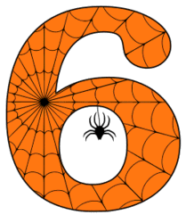 Free printable 6 - Halloween number. Alphabet clipart, spooky, font, stencil coloring page sheet, template with spider and cob web pattern digital download.