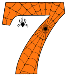 Free printable 7 - Halloween number. Alphabet clipart, spooky, font, stencil coloring page sheet, template with spider and cob web pattern digital download.