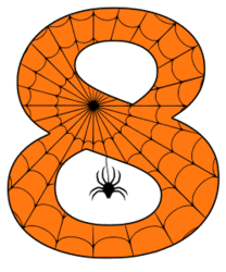 Free printable 8 - Halloween number.  Alphabet clipart, spooky, font, stencil coloring page sheet, template with spider and cob web pattern digital download.