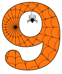 Free printable 9 - Halloween number. Alphabet clipart, spooky, font, stencil coloring page sheet, template with spider and cob web pattern digital download.