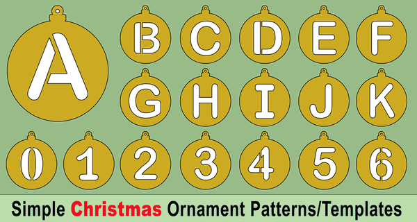Handmade Christmas Tree Ornaments Patterns and Letter Stencils