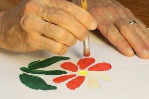 DIY painting using a stencil brush.