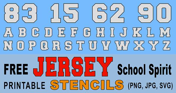 Jersey Font Letter Stencils (Number and Alphabet Lettering)