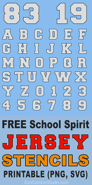 FREE printable JERSEY numbers, letters, and alphabet stencils for athletic sports, uniforms, and high school spirit.  Slab-serif, svg, png, jgp formats.