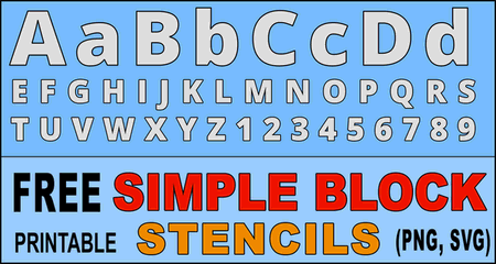 FREE bold letter stencils, font, thick number and alphabet downloadable and printable stencils and patterns.