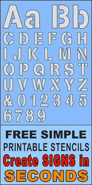 FREE bold letter stencils, printable number and alphabet downloadable patterns with designed gap typeface.