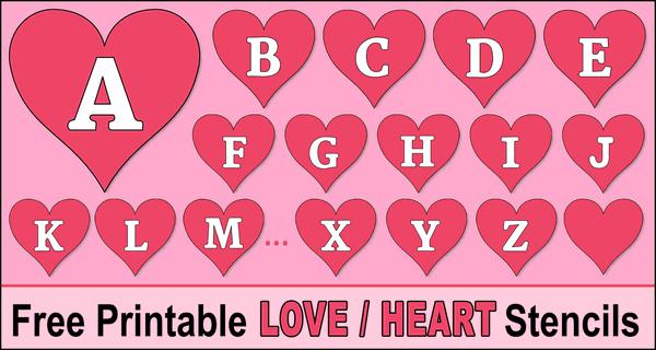 Printable Heart Stencils (Valentine's Day Love Font Patterns)