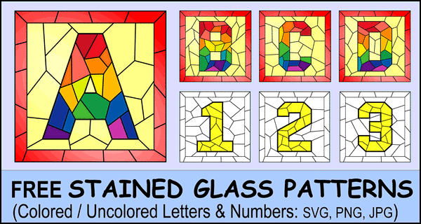 Stained Glass Letter Patterns (Free Decorative Square Alphabet Font)