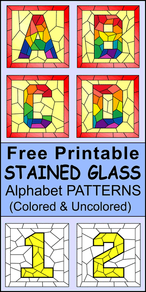 FREE printable DIY stain glass letter patterns, stencil, font letters, numbers, and alphabet patterns. This font style lettering is great for signs, bulletin boards, decorations, etc.