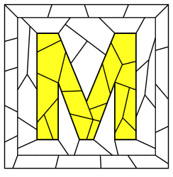 Free printable M - template. stained glass letter, font, stencil, template, number, alphabet, simple DIY stained glass patterns, designs, clip art.