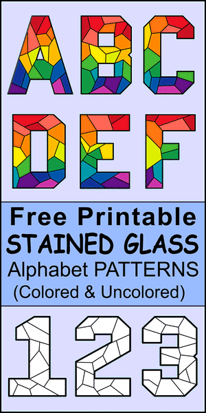 FREE printable stain glass lettering patterns, stencil, font letters, numbers, and alphabet patterns. This font style lettering is great for signs, bulletin boards, decorations, etc.