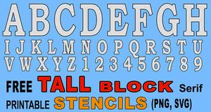 TALL Block Stencils (Serif)