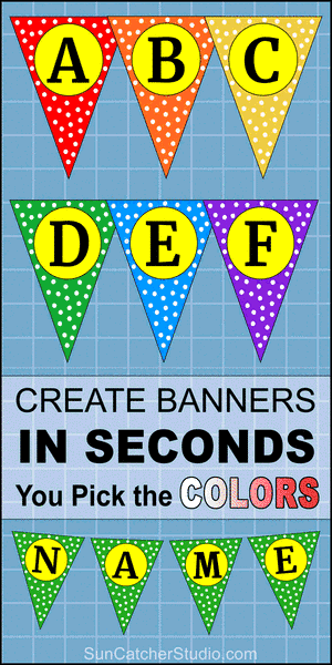 Triangle banner DIY letters, pennant, templates, flag, alphabet, printable, stencils, patterns, font letters, numbers, welcome signs, bulletin boards, happy birthday signs, free, decorations, etc.
