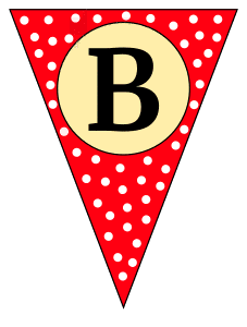B - banner letter. Custom triangle pennant flag, DIY, stencil, pattern, template, clipart, printable alphabet letters and numbers, happy birthday sign, welcome sign, back to school, bulletin board, font, cricut, silhouette, vector, svg.