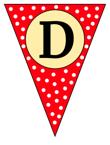 D - banner letter. Custom triangle pennant flag, DIY, stencil, pattern, template, clipart, printable alphabet letters and numbers, happy birthday sign, welcome sign, back to school, bulletin board, font, cricut, silhouette, vector, svg.