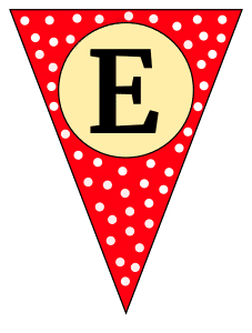 E  - banner letter. Custom triangle pennant flag, DIY, stencil, pattern, template, clipart, printable alphabet letters and numbers, happy birthday sign, welcome sign, back to school, bulletin board, font, cricut, silhouette, vector, svg.