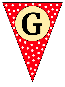 G - banner letter. Custom triangle pennant flag, DIY, stencil, pattern, template, clipart, printable alphabet letters and numbers, happy birthday sign, welcome sign, back to school, bulletin board, font, cricut, silhouette, vector, svg.