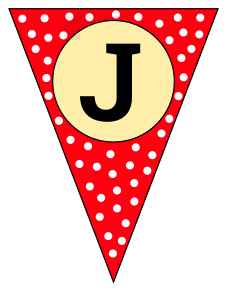J  - banner letter. Custom triangle pennant flag, DIY, stencil, pattern, template, clipart, printable alphabet letters and numbers, happy birthday sign, welcome sign, back to school, bulletin board, font, cricut, silhouette, vector, svg.