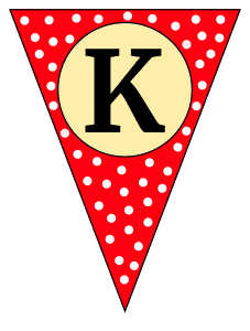K  - banner letter. Custom triangle pennant flag, DIY, stencil, pattern, template, clipart, printable alphabet letters and numbers, happy birthday sign, welcome sign, back to school, bulletin board, font, cricut, silhouette, vector, svg.