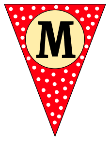M  - banner letter. Custom triangle pennant flag, DIY, stencil, pattern, template, clipart, printable alphabet letters and numbers, happy birthday sign, welcome sign, back to school, bulletin board, font, cricut, silhouette, vector, svg.