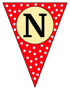 N  - triangle pennant. Custom triangle pennant flag, DIY, stencil, pattern, template, clipart, printable alphabet letters and numbers, happy birthday sign, welcome sign, back to school, bulletin board, font, cricut, silhouette, vector, svg.