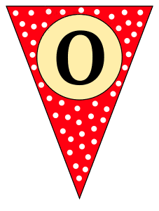 O  - triangle pennant. Custom triangle pennant flag, DIY, stencil, pattern, template, clipart, printable alphabet letters and numbers, happy birthday sign, welcome sign, back to school, bulletin board, font, cricut, silhouette, vector, svg.