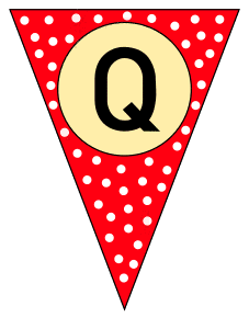 Q  - triangle pennant. Custom triangle pennant flag, DIY, stencil, pattern, template, clipart, printable alphabet letters and numbers, happy birthday sign, welcome sign, back to school, bulletin board, font, cricut, silhouette, vector, svg.