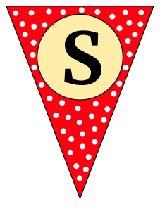 S  - triangle pennant. Custom triangle pennant flag, DIY, stencil, pattern, template, clipart, printable alphabet letters and numbers, happy birthday sign, welcome sign, back to school, bulletin board, font, cricut, silhouette, vector, svg.