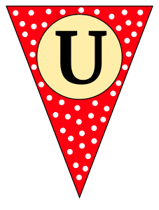 U  - triangle pennant. Custom triangle pennant flag, DIY, stencil, pattern, template, clipart, printable alphabet letters and numbers, happy birthday sign, welcome sign, back to school, bulletin board, font, cricut, silhouette, vector, svg.