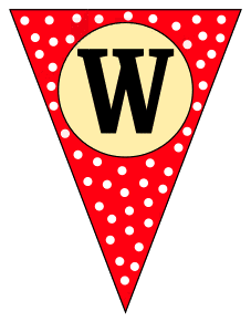 W  - triangle pennant. Custom triangle pennant flag, DIY, stencil, pattern, template, clipart, printable alphabet letters and numbers, happy birthday sign, welcome sign, back to school, bulletin board, font, cricut, silhouette, vector, svg.