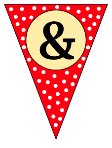 Ampersand - banner. Custom triangle pennant flag, DIY, stencil, pattern, template, clipart, printable alphabet letters and numbers, happy birthday sign, welcome sign, back to school, bulletin board, font, cricut, silhouette, vector, svg.
