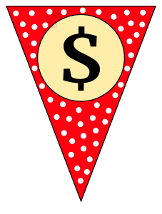 Dollar sign - banner. Custom triangle pennant flag, DIY, stencil, pattern, template, clipart, printable alphabet letters and numbers, happy birthday sign, welcome sign, back to school, bulletin board, font, cricut, silhouette, vector, svg.