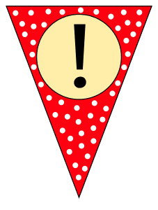 Exclamation point (mark).  Custom triangle pennant flag, DIY, stencil, pattern, template, clipart, printable alphabet letters and numbers, happy birthday sign, welcome sign, back to school, bulletin board, font, cricut, silhouette, vector, svg.