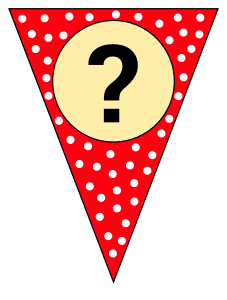 Question mark - banner. Custom triangle pennant flag, DIY, stencil, pattern, template, clipart, printable alphabet letters and numbers, happy birthday sign, welcome sign, back to school, bulletin board, font, cricut, silhouette, vector, svg.