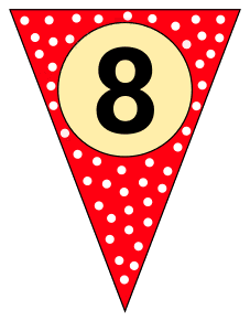 8  - banner flag. Custom triangle pennant flag, DIY, stencil, pattern, template, clipart, printable alphabet letters and numbers, happy birthday sign, welcome sign, back to school, bulletin board, font, cricut, silhouette, vector, svg.