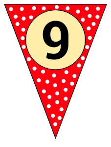 9 - banner flag. Custom triangle pennant flag, DIY, stencil, pattern, template, clipart, printable alphabet letters and numbers, happy birthday sign, welcome sign, back to school, bulletin board, font, cricut, silhouette, vector, svg.